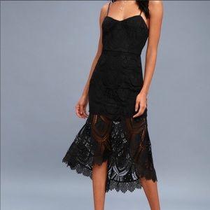 Lulus Pure Passion Black, lace ,bodycon midi dress